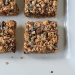 An overhead photo of magic bars resting on a white platter.