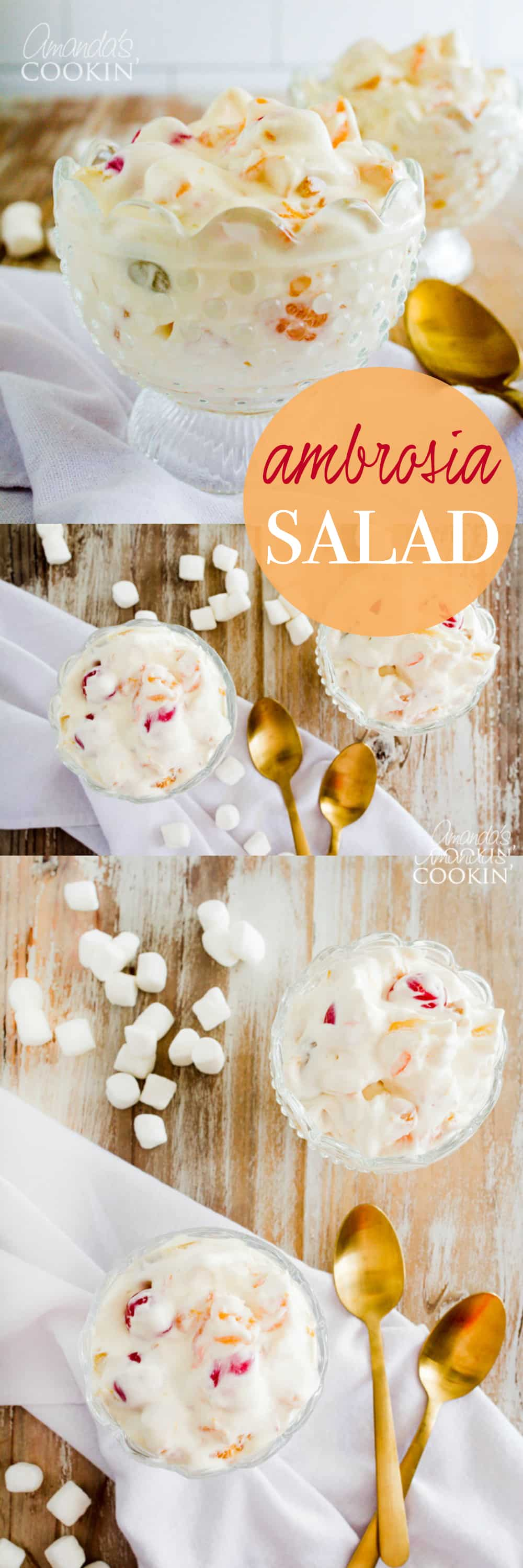 Ambrosia Salad is perfect for potlucks, family gatherings, birthday parties and just about anything else. It's simply something everyone seems to enjoy!