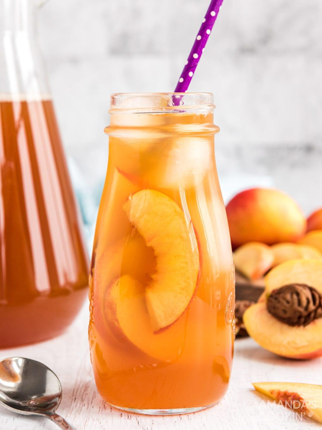 bottle of peach iced tea