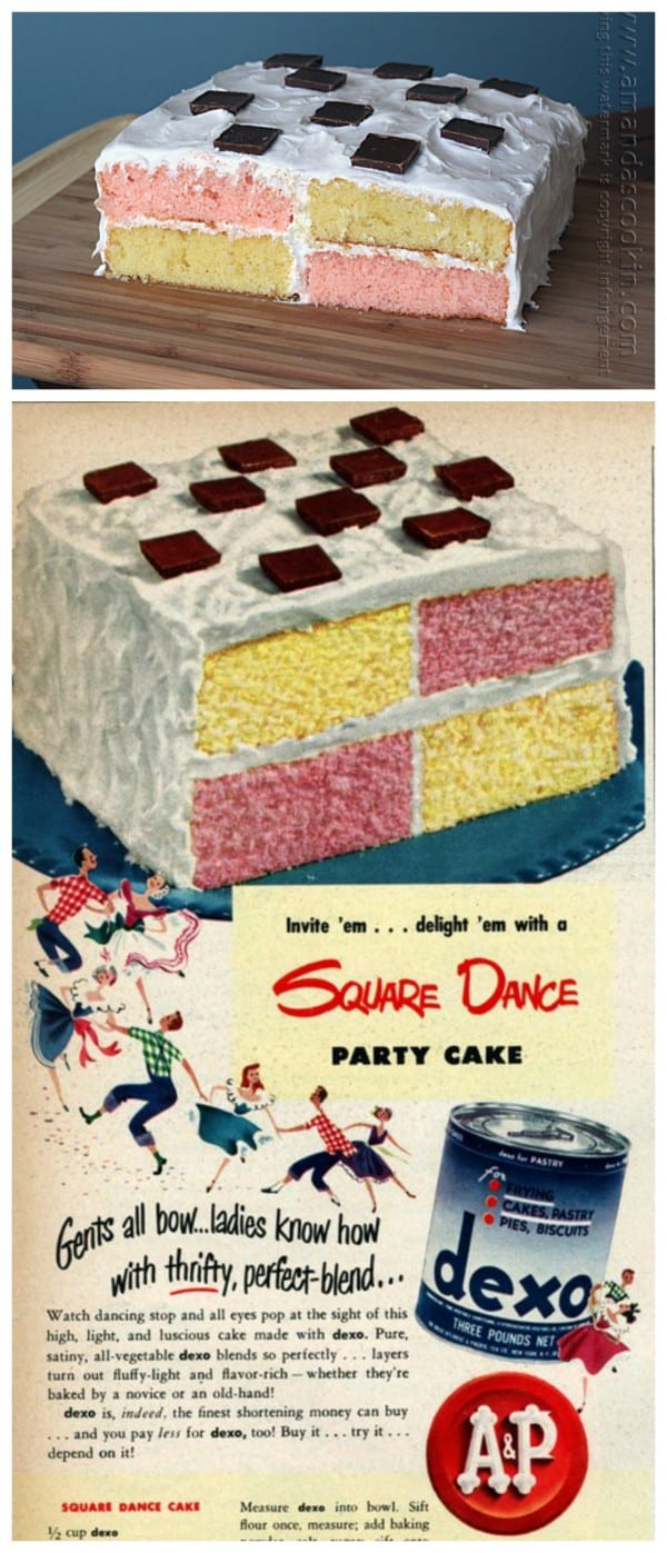 Vintage Recipe: Square Dance Party Cake by Amanda Formaro at Amanda's Cookin'