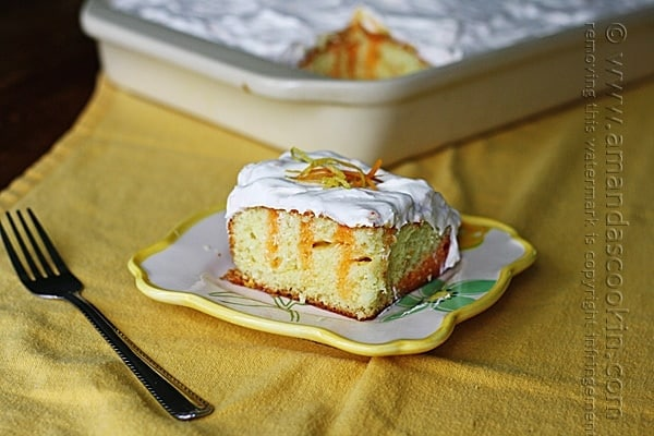 This delicious orange and lemon poke cake is a citrus lover's dream! Made with ease with a cake mix, orange and lemon fans will be asking for seconds.