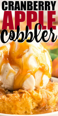 pinterest image for cranberry apple cobbler