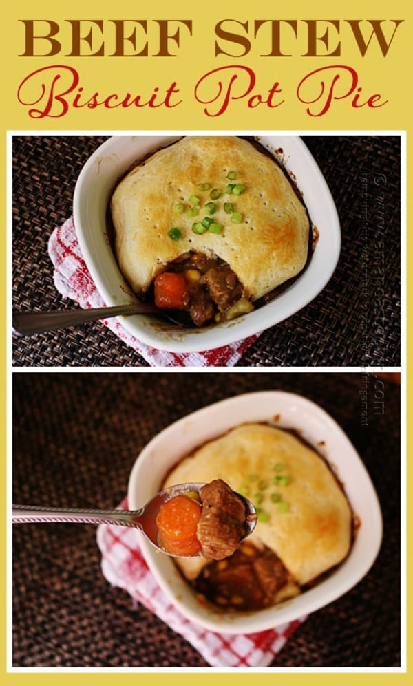 Beef Stew Biscuit Pot Pie - Amanda Formaro of Amanda's Cookin'