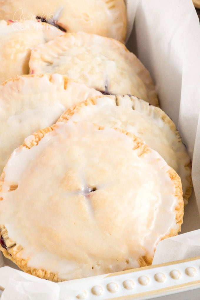 glazed hand pies in a dish