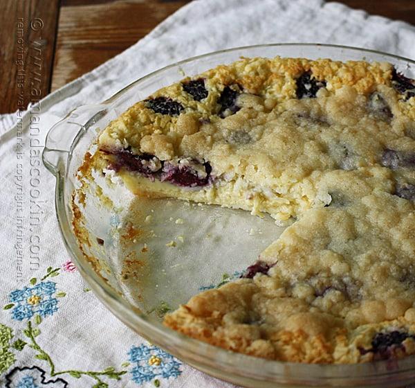 Blackberry Coconut Impossible Pie