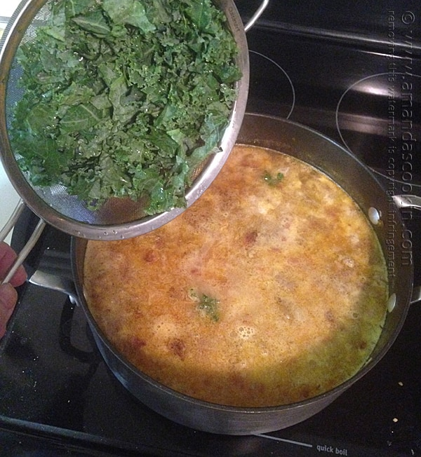 adding kale to soup
