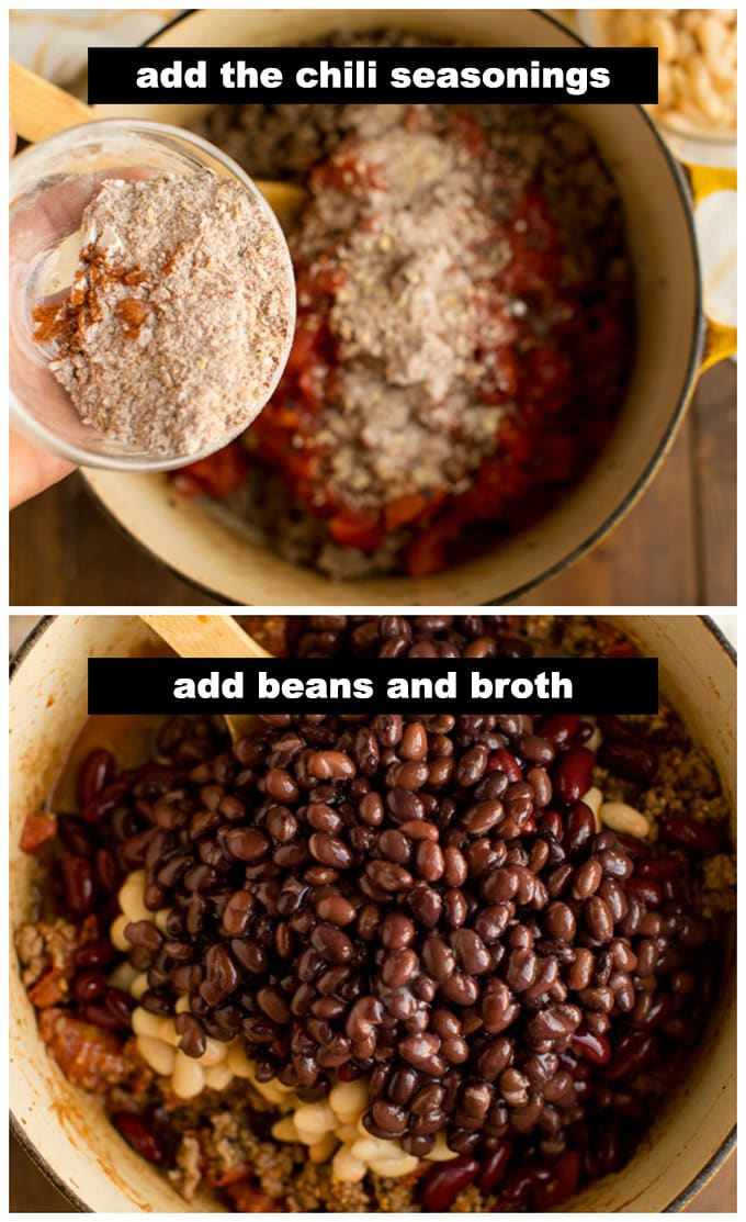 adding seasoning and beans to pot