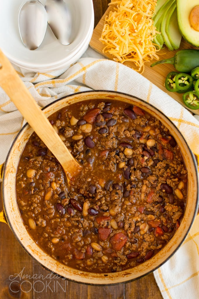 dutch oven overhead photo with 3 bean chili