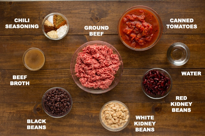 ingredients for 3 bean chili