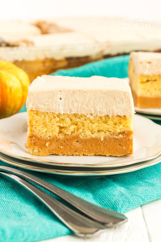 layered pumpkin magic cake on a plate