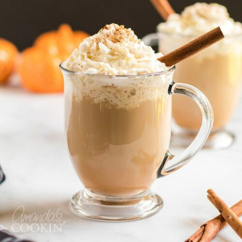 pumpkin spice latte in a clear mug