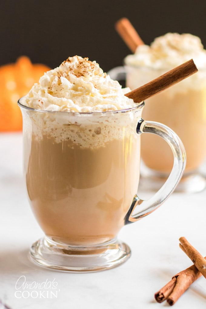 homemade pumpkin spice latte in a clear mug