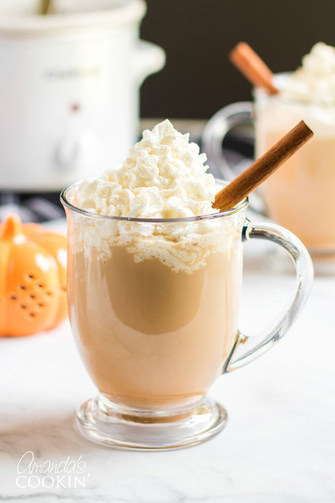 clear mug with pumpkin latte