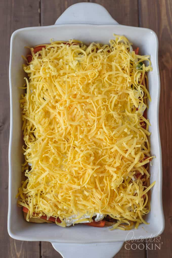 shredded cheese on the casserole