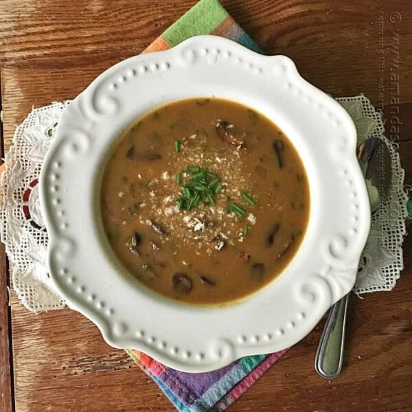 Mushroom Soup with Sausage & Wild Rice