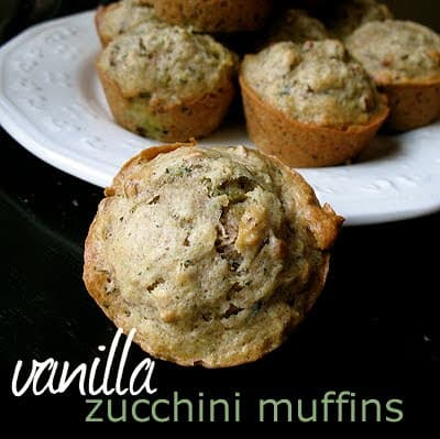 Vanilla Zucchini Muffins! A delicious way to use up that zucchini from the garden. Your family will love them!