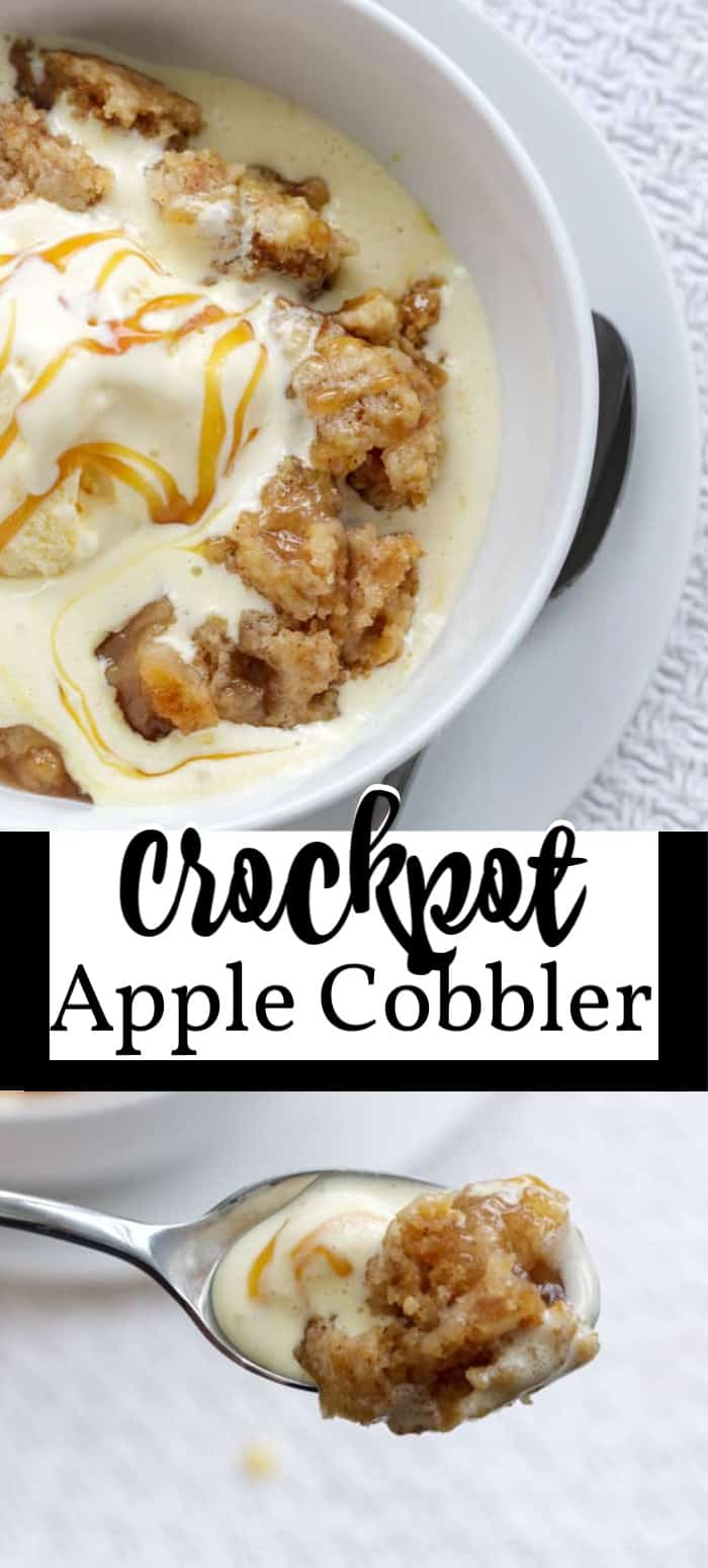 crockpot apple cobbler pin image