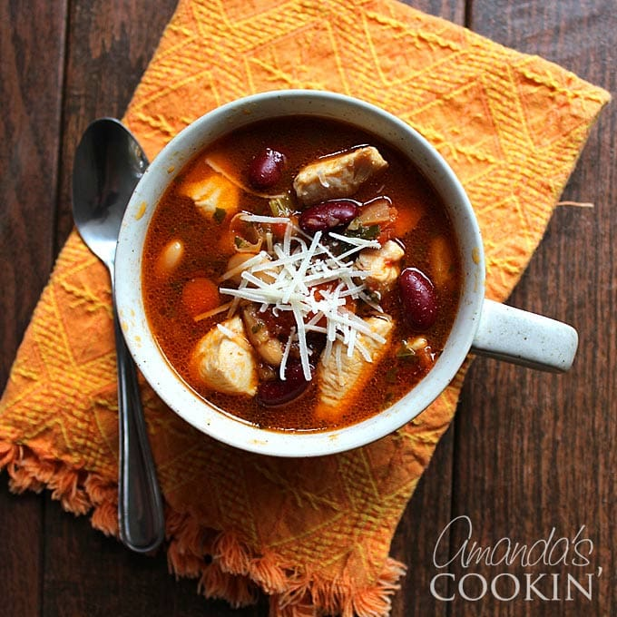 This chicken bean soup is a hearty meal to make this fall season. Unlike many traditional chicken soup recipes this uses a tomato base for extra richness!