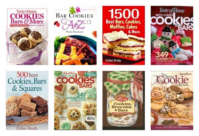 A collection of cookbooks on bar recipes and cookie recipes.