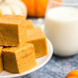 stack of pumpkin pie fudge
