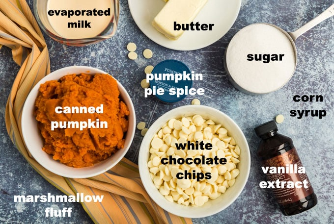 labeled ingredients for pumpkin pie fudge