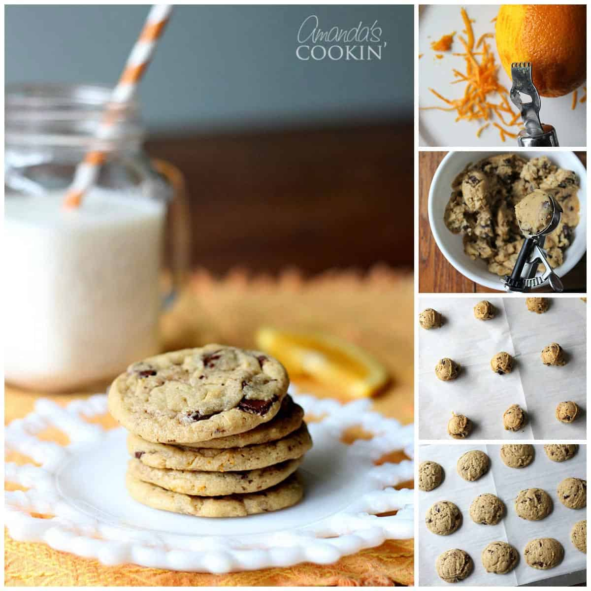 Photos of the steps to make orange chocolate chip cookies.