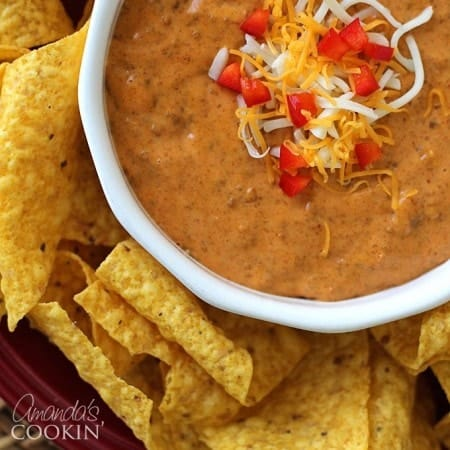 This recipe for chili cheese dip uses only 3 ingredients and your microwave! Perfect for the big game or any other party where you need an appetizer.