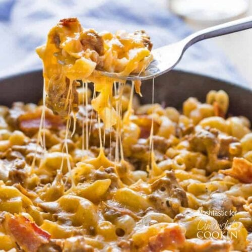 A close up of Bacon Cheese pasta