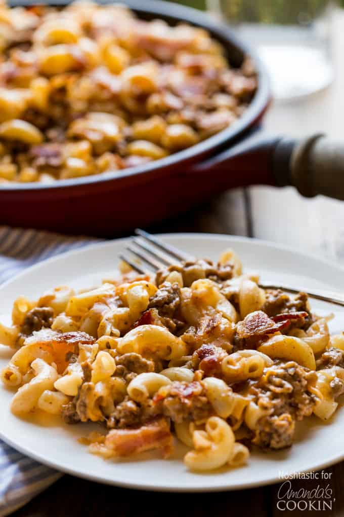 Bacon Cheeseburger Pasta on plate