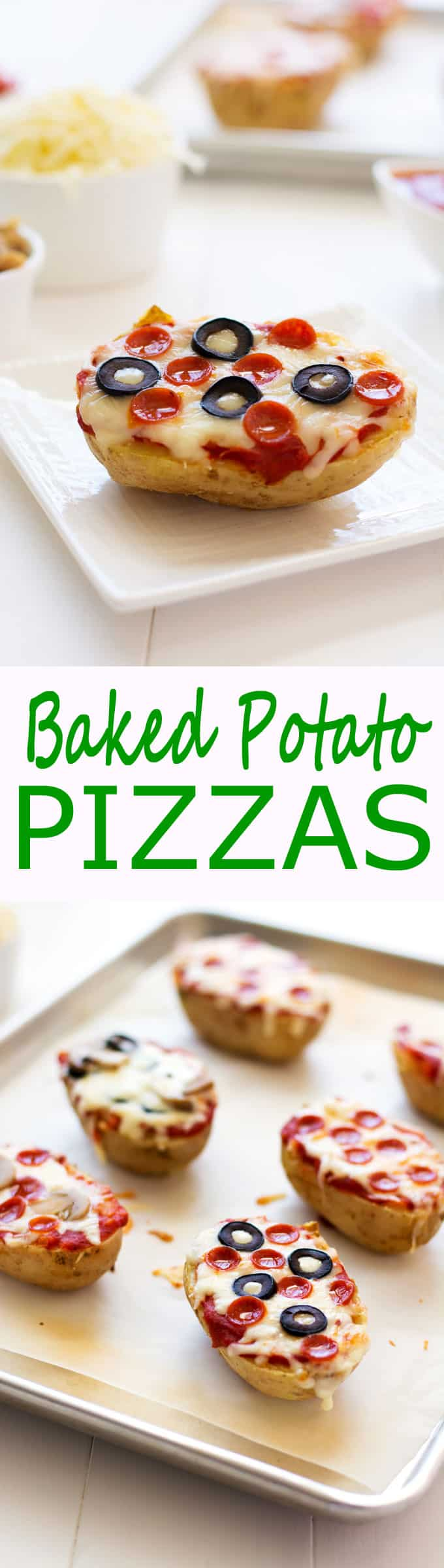 Photos of baked potato pizzas on a baking sheet and on a plate.