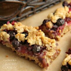 A close up photo of two berrylicious bars.