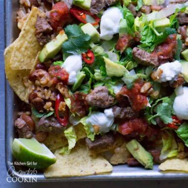 An overhead photo of filet mignon steak nachos.