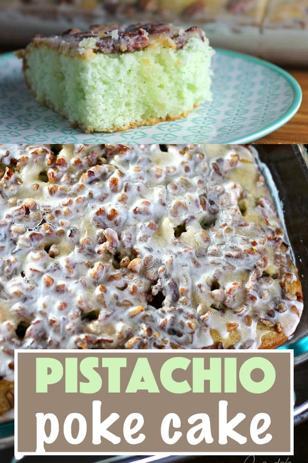 Learn how to make this super simple Pistachio Poke Cake that is always a crowd please. Pistachio Poke Cake is great as a take-along dessert for potlucks!