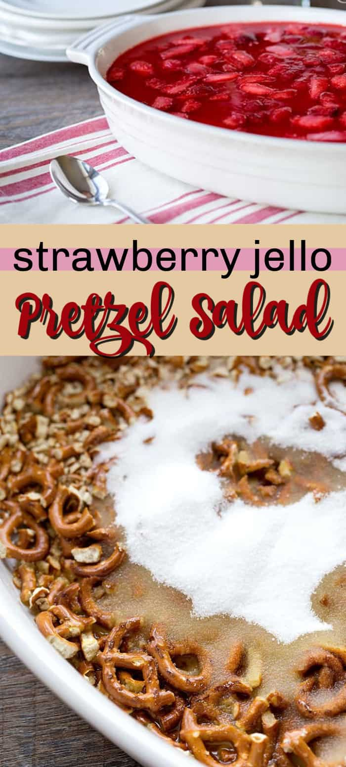 strawberry jello pretzel salad pin image