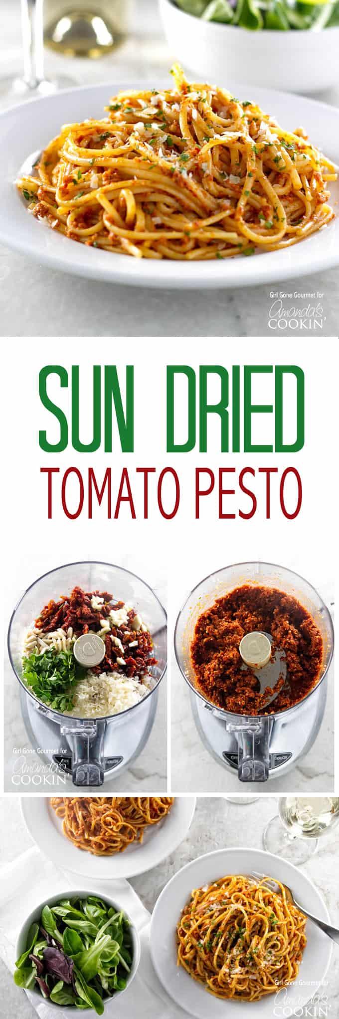 Sun-dried Tomato Pesto: almonds, parmesan, parsley, pesto