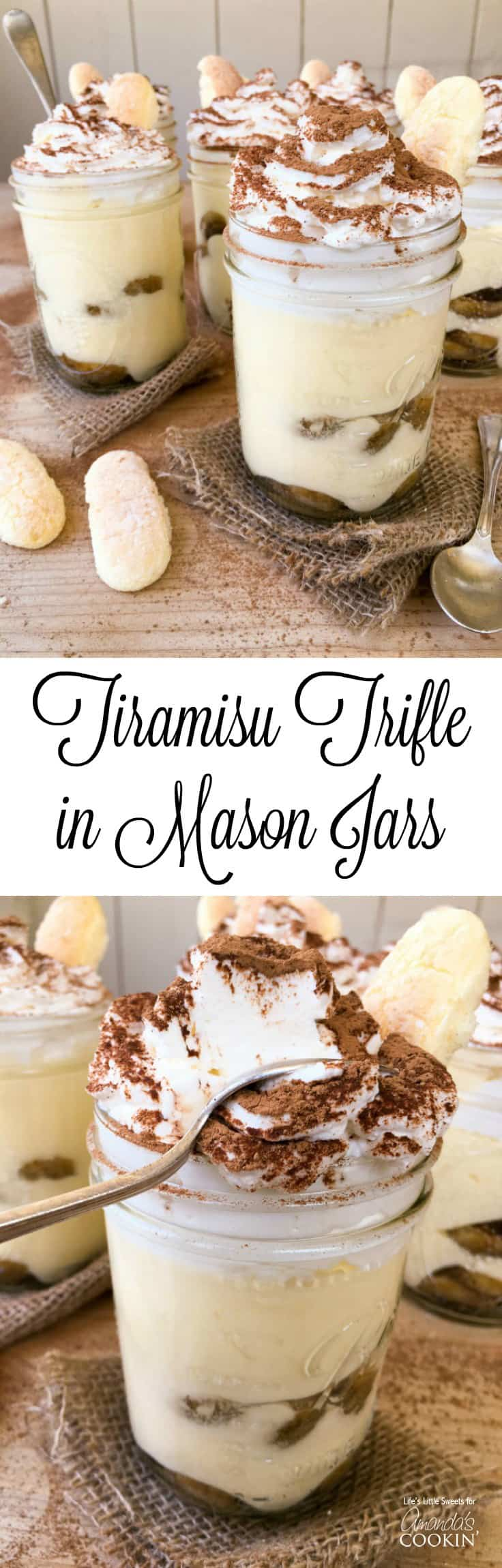 This Tiramisu Trifle in Mason Jars is a new take the classic tiramisu dessert. There is plenty to go around as this recipe makes 6 pint-sized mason jars filled with delicious tiramisu dessert, yet only requires 10 ingredients. With 2 layers of delicious, espresso-soaked ladyfingers, rich tiramisu cream and lofty whipped cream dusted with cocoa, Tiramisu Trifle in Mason Jars is going to be your new most-requested family favorite!