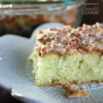 Learn how to make this super simple Pistachio Poke Cake that is always a crowd please. Pistachio Poke Cake is great as a take-along dessert for potlucks! uses pistachio pudding, a cake mix and yummy pecans!