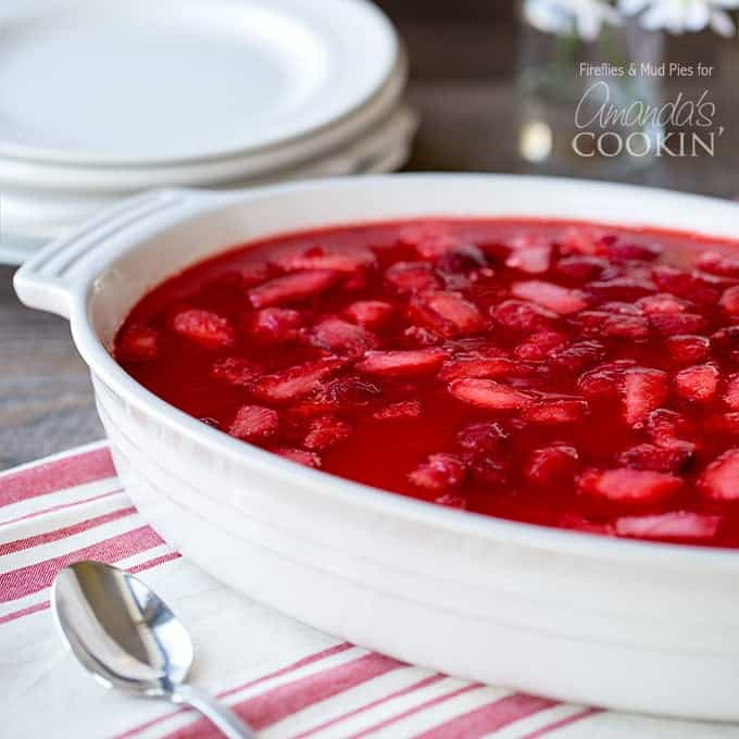 Strawberry Jello Pretzel Salad in white baking dish
