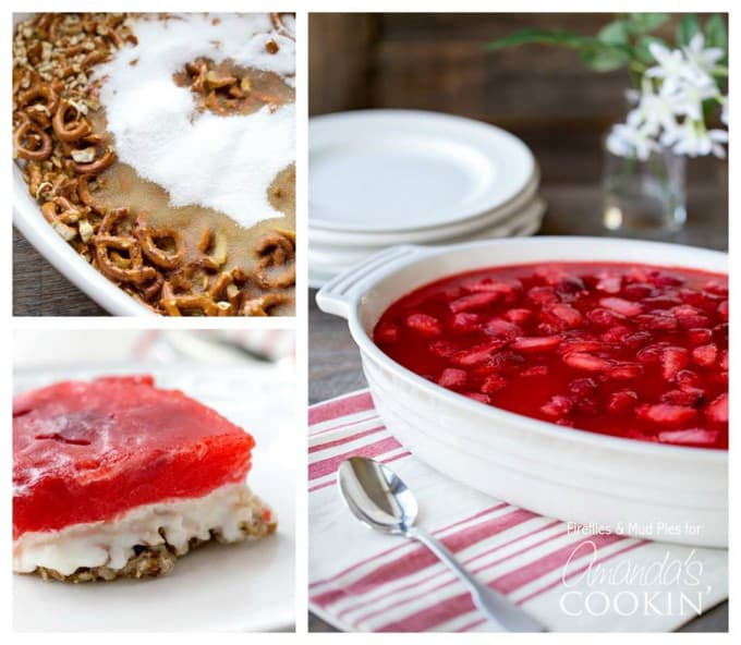 Strawberry jello pretzel salad collage
