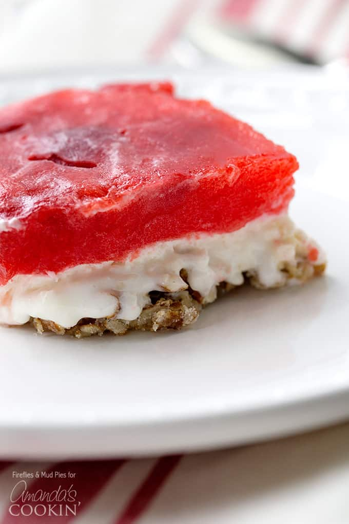 Slice of strawberry jello pretzel salad