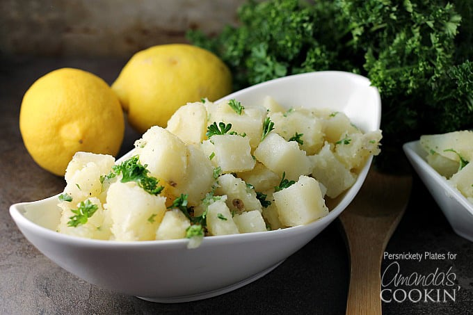 This delicious Mediterranean potato salad is made with fresh herbs, olive oil and lemon. Bring the flavors of the Mediterranean to your next picnic!
