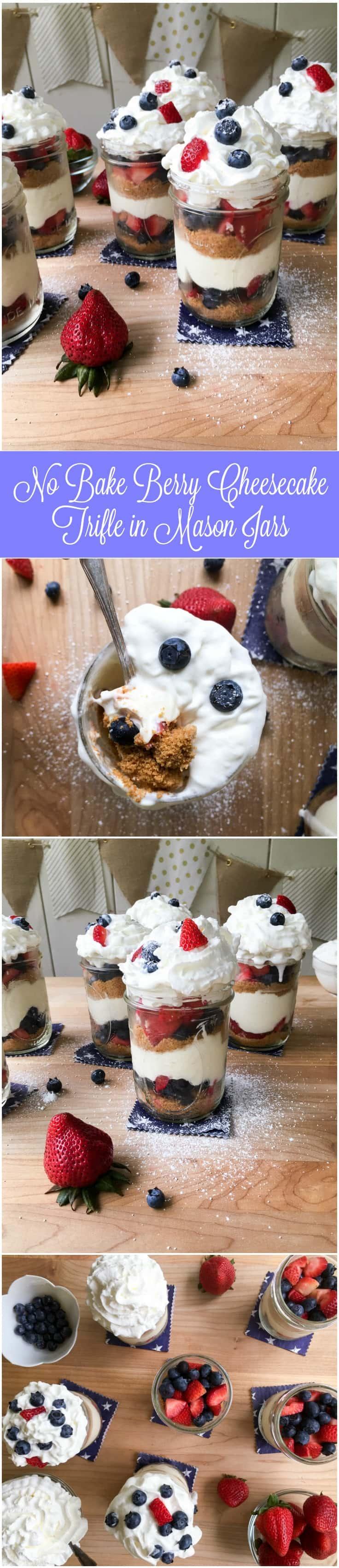 No Bake Berry Cheesecake Trifle in Mason Jars 736x3400