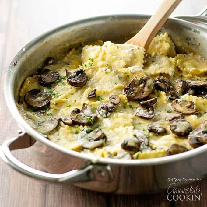 Mushroom ravioli in pan