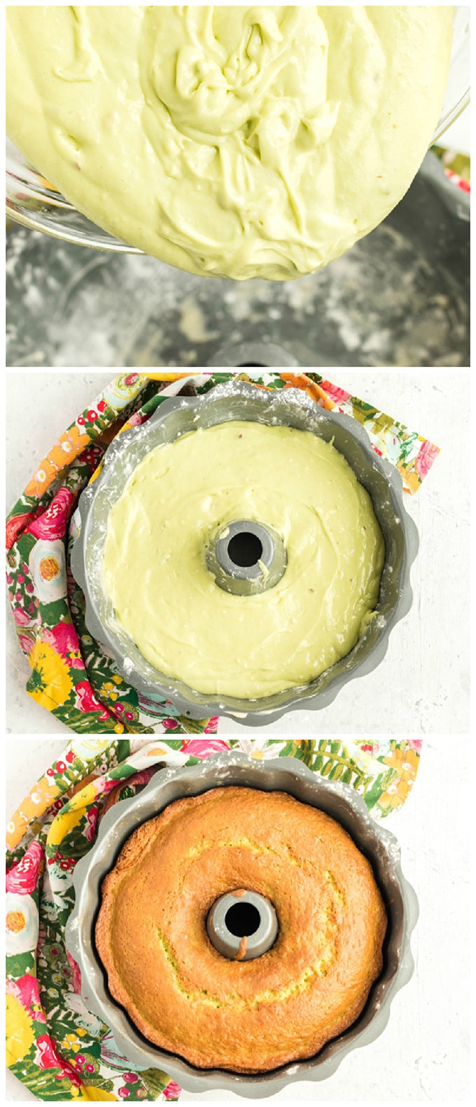 putting cake mix in bundt pan