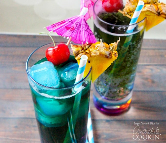 Blue mermaid cocktail with blue curacao