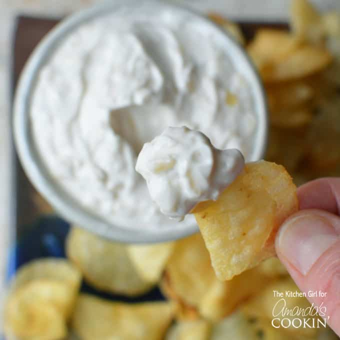 You only need a few ingredients to make this Skinny French Onion Dip recipe! Greek yogurt makes for a lighter homemade dip!