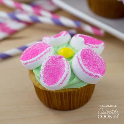 These beautiful flower cupcakes and made with marshmallows and dusting sugar. You can make marshmallow flower cupcakes with a cake mix or from scratch!