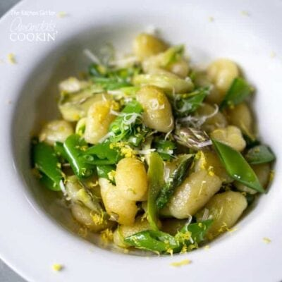 This seasonal gnocchi recipe comes together in 30 minutes. Pan-seared with shaved asparagus and snap peas; a light dish loaded with spring vegetables.