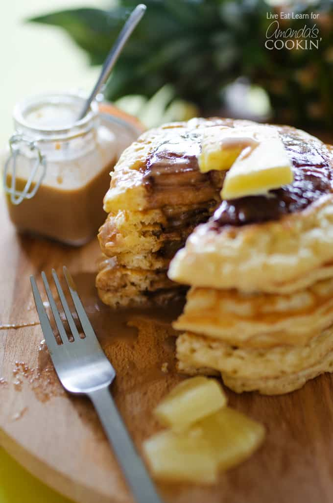 These homemade pineapple pancakes will remind you of pineapple upside down cake because of the caramelized pineapple calling you from the center!