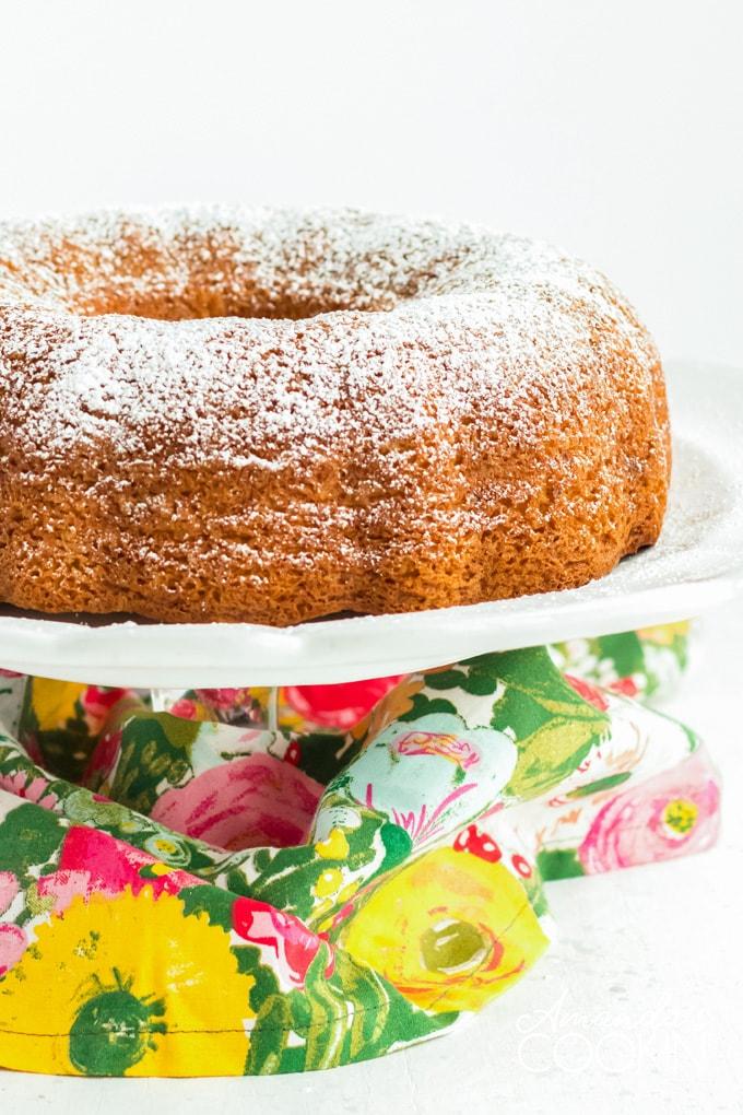 PISTACHIO BUNDT CAKE ON CAKE PLATE